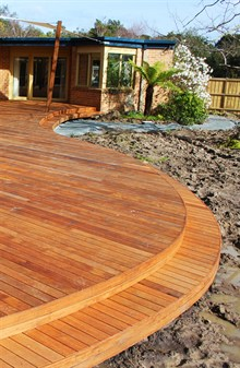Landscape Construction Melbourne - picture of new decking and other landscaping. Outdoor decking design, decking designs.s,